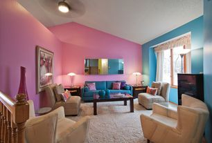 Contemporary Living Room with Carpet, Ceiling fan, Paint 2, Paint 1, Casement, Standard height