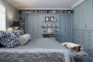 Modern Master Bedroom with Built-in bookshelf, Crown molding, Carpet, Powell Mirrored Console with 'Silver' Wood