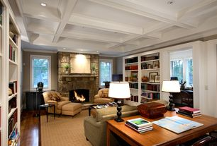 Traditional Living Room with Built-in bookshelf, Hardwood floors, stone fireplace, Exposed beam, Box ceiling