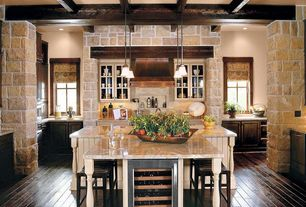 Country Kitchen with T-shaped island, full backsplash, Glass panel, Raised panel, Exposed beam, Casement, Kitchen island