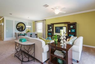 """Contemporary Living Room with Carpet, Paint 2, Cooper Classics Voltaire Mirror, Hunter Fan 52"""" Brookline, Ceiling fan, Paint"""