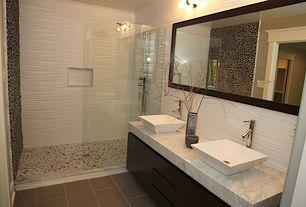 Eclectic 3/4 Bathroom with Vessel sink, European Cabinets, ROTUNDA SLANTED SPOUT SINGLE-HOLE VESSEL FAUCET AND POP-UP DRAIN