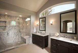 Traditional Master Bathroom with Complex marble counters, Undermount sink, Arched window, High ceiling, Master bathroom