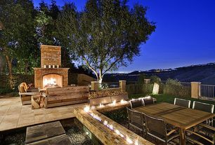 Mediterranean Patio with exterior tile floors, exterior concrete tile floors, Deck Railing