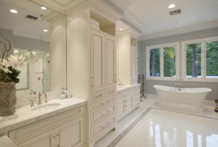 Traditional Master Bathroom with stone tile floors, Standard height, Complex Marble, frameless showerdoor, Paint 2, Paint 1