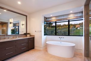 Contemporary Master Bathroom with Simple granite counters, Laguna bay 12 in. x 12 in. cream ceramic floor and wall tile