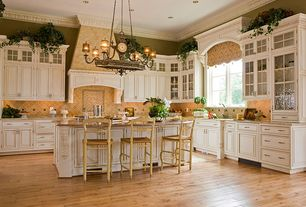 Country Kitchen with Chandelier, Maple - Country Natural 2 1/4 in. Solid Hardwood Strip, Crown molding, Custom hood, L-shaped