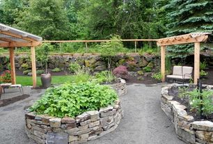 Rustic Landscape/Yard with Frontgate Charleston Loveseat with Cushions, Fence, Raised beds, Eldorado Stone Cliffstone