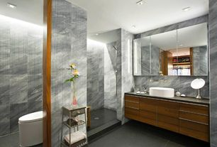 Contemporary Master Bathroom with slate tile floors, Slate counters, Flush, Vessel sink, Master bathroom, European Cabinets