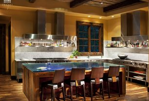 Contemporary Kitchen with High ceiling, Undermount sink, Glass counters, Exposed beam, Inset cabinets, European Cabinets