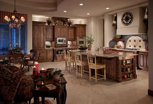 Eclectic Kitchen with Standard height, Kitchen island, Pendant light, Raised panel, full backsplash, limestone tile floors
