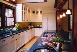Craftsman Kitchen with Hardwood floors, Minka Lavery Agilis 1 Light Mini Pendant, High ceiling, Pendant light, L-shaped