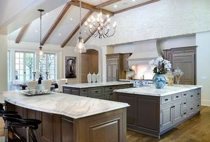 Country Kitchen with Built In Panel Ready Refrigerator, Raised panel, Pendant light, High ceiling, Custom hood, U-shaped