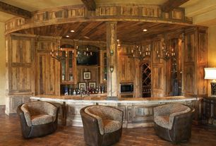 Rustic Bar with Chandelier, Columns, Exposed beam, Crown molding, Hardwood floors