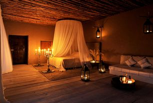 Mediterranean Master Bedroom with Wood plank ceiling, Hardwood floors, Zingz & thingz americana candle lantern - size: large