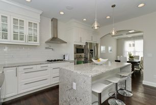 Contemporary Kitchen with Breakfast nook, Raised panel, Complex granite counters, Subway Tile, Pendant light, Glass panel