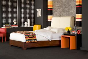 Contemporary Master Bedroom with interior wallpaper, Carpet, Standard height