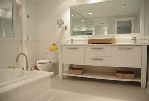 Contemporary Full Bathroom with Pental - Focus Porcelain Tile Collection, Flush, High ceiling, Wainscotting, Limestone