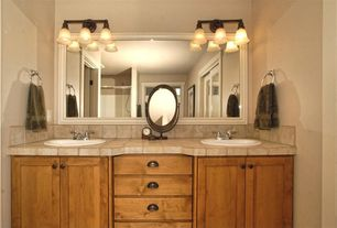 Traditional Master Bathroom with Design Classics Lighting Classic Three-Light Bathroom Light, drop-in sink, Double sink