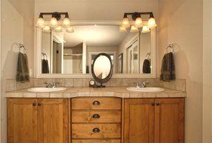 Traditional Master Bathroom with Master bathroom, Framed mirror, Design Classics Lighting Classic Three-Light Bathroom Light