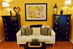 Contemporary Master Bedroom with Pottery Barn Park Hill Lanterns, 5 Drawer Dresser Black, Hardwood floors