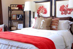 Tropical Master Bedroom with Built-in bookshelf, Threshold double socket floor lamp