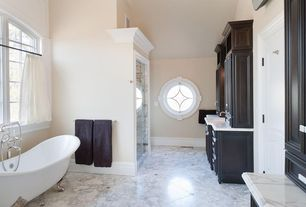 "Traditional Master Bathroom with Flat panel cabinets, Randolph Morris 70"" Acrylic Double Slipper Clawfoot Tub, specialty door"