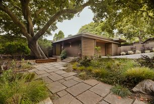 Contemporary Landscape/Yard with Pathway, exterior stone floors, Fence, Paint