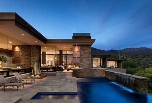 Contemporary Swimming Pool with French doors, Fire pit, Outdoor kitchen, exterior tile floors, Pathway