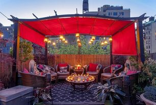 Contemporary Deck with Hanging candle lanterns, exterior tile floors, New york city, Fence, Manhattan, Urban city view