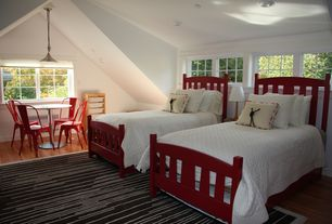 Cottage Guest Bedroom with Pendant light, High ceiling, Hardwood floors