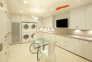 Modern Laundry Room with Concrete floors, MS International - White Ice, David Weeks Studio Torroja Cross Chandelier No 425
