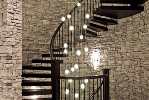 Contemporary Staircase with Hardwood floors, High ceiling, Black bear manufactured stone terra stack stone, Wall sconce