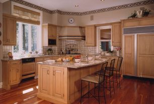 Country Kitchen with High ceiling, Flush, built-in microwave, Stone Tile, Casement, double-hung window, electric cooktop