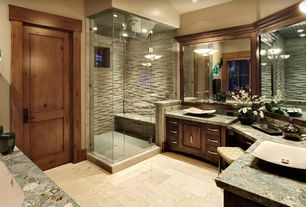 Contemporary Master Bathroom with specialty door, Flush, limestone tile floors, Rain shower, Vessel sink, Flat panel cabinets