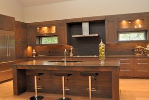 Contemporary Kitchen with Flat panel cabinets, PentalQuartz Mesa BS120, RST Brands Klein Brown Leather Bar Stools (Set of 2)