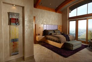 Modern Master Bedroom with Pendant light, interior wallpaper, High ceiling, Exposed beam, herringbone tile floors