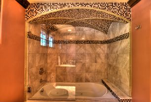 Eclectic Full Bathroom with Emser tile natural stone 12x12 marble tile in nantes, picture window, Bathtub, Standard height