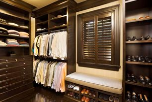 Traditional Closet with Hardwood floors, Window seat, Crown molding, Interior plantation shutters, Built-in bookshelf