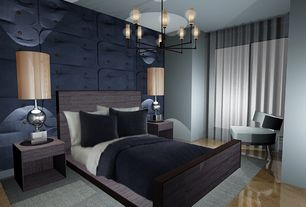 Contemporary Master Bedroom with Standard height, Laminate floors, Chandelier, specialty window