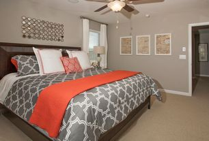 Contemporary Master Bedroom with Standard height, Ceiling fan, Carpet, Paint 1, double-hung window