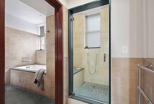 Contemporary Master Bathroom with Handheld showerhead, slate tile floors, Master bathroom, frameless showerdoor