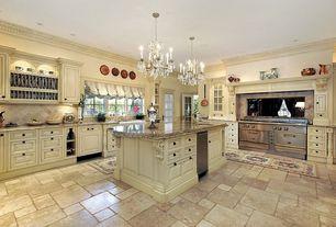 Traditional Kitchen with Undermount sink, Floor And Decor Crema Antiqua Tumbled Travertine Tile, Raised panel, Kitchen island