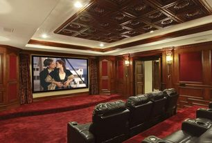 Traditional Home Theater with Crown molding, Chair rail, Wainscotting, Wall sconce, Carpet