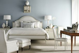 Art Deco Master Bedroom with Restoration hardware vintage french nailhead upholstered side chair, Carpet