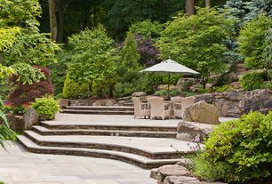 Rustic Patio with exterior stone floors, Raised beds