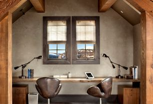 Rustic Home Office with Hardwood floors, Exposed beam, flush light, can lights, Swan chair caramel premium leather, Casement