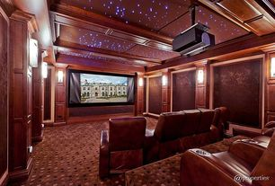 Contemporary Home Theater with Wall sconce, Standard height, Exposed beam, Carpet