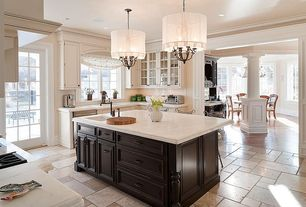 Contemporary Kitchen with Crown molding, Quartz counters, Pendant light, slate tile floors, High ceiling, Breakfast bar