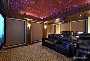 Contemporary Home Theater with Standard height, Crown molding, Exposed beam, Carpet, can lights, Wall sconce